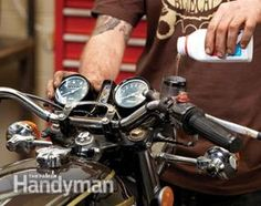 Upgrade Motorcycle Handlebars: Fill and bleed. http://www.familyhandyman.com/automotive/how-to-upgrade-motorcycle-handlebars/view-all