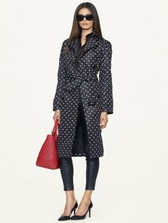Polka-Dot Victoria Trench Coat - Black Label  Jackets & Outerwear - RalphLauren.com