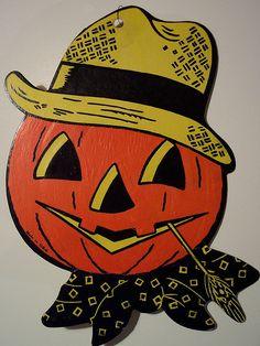 Vintage Halloween Pumpkin Head