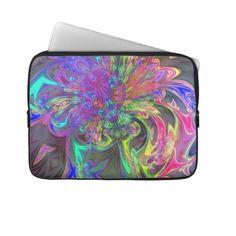 Glowing Burst of Color – Teal  Violet Deva Laptop Sleeve #abstract #fractal #rainbow #sleeve