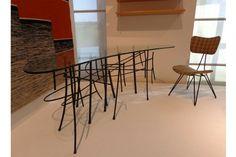 Mesa para escritório, de vidro e ferro, 1953, design Ettore Sottsass