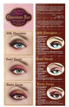 Too Faced Chocolate Bar Eyeshadow Palette Eyeshadow Tips, Shimmer Eyeshadow, Eyeshadow Looks, Eyeshadow Palette, Colourpop Eyeshadow, Chocolate Bar Eyeshadow, Chocolate Bar Makeup, Chocolate Bar Palette Looks, Chocolate Gold