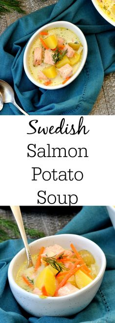 Swedish Salmon Potato Soup is quick and delicious! #PressureCookers #ad https://www.mysuburbankitchen.com/2017/11/crock-pot-salmon-potato-soup/