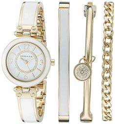 Anne Klein Womens AK2016WTST Swarovski Crystal Accented GoldTone and White Bangle Watch and Bracelet Set *** Click image for more details.