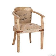 "J-Line Vintage stoel paris in naturel hout en beige canvas <span style=""font-size: 0.01pt;"">Jline-by-Jolipa-57512-industriele-loft-stijl-meubels-online-bestellen-online</span> - Stoelen Krukken - BCosy Webshop Boutique Web Vente en Ligne"