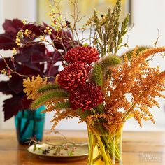 Golds, reds, olives, and purples shine in these classic fall floral arrangements. Scrounge from your garden, nature, or a floral store for vividly colored blooms.