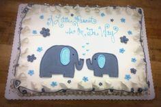 Blue and Gray Elephants Baby Shower Sheet Cake