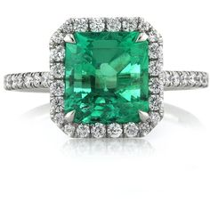 Mark Broumand 2.84ct Emerald and Diamond Engagement Ring ($10,995) ❤ liked on Polyvore featuring jewelry, rings, joias, white, diamond rings, emerald ring, emerald diamond ring, emerald cut engagement rings y pandora jewelry