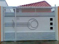 Resultado de imagem para portão basculante Grill Gate Design, Fence Gate Design, Front Door Design Wood, Front Gate Design, Main Gate Design, House Gate Design, Garage Door Design, Garage Doors, Modern Steel Gate Design