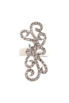 Silver Filigree And Rhinestone Ring | Rings