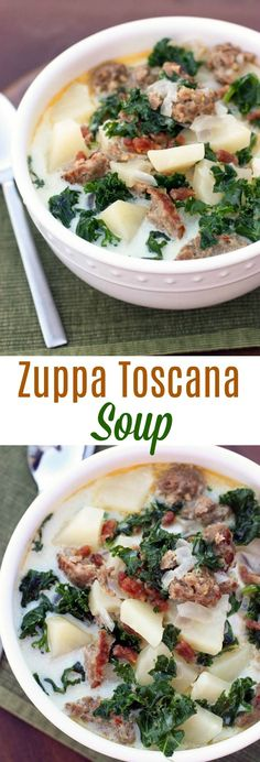Creamy Italian soup with sausage, potatoes, chopped kale and bacon. This easy, comforting Zuppa Toscana Soup is always a crowd favorite! via @betrfromscratch #soup #olivegarden #easy #best