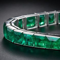French Straight Line Emerald Bracelet