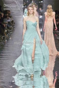 2014 Fashion Show Elie Saab High Slit Evening Dresses A-Line Sweetheart Hand Made Flowers Pick-up Pleat Prom Pageant Gown Party Dress Online with $91.15/Piece on Magicdress2011's Store | DHgate.com