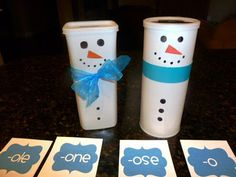 cute snowpeople from crystal light containers