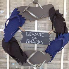 Shark party wreath.