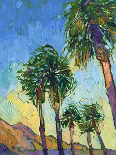 Palm Springs contemporary impressionism landscape oil painting for sale.