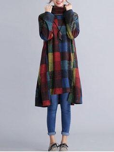 Turtleneck Plaid Oversized Shift Dress