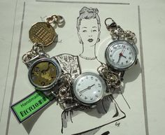 Unusual Handmade Recycled Vintage Watches Bracelet with Vintage British Coin, Eco Friendly Jewellery via Etsy