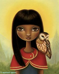 Girl and owl art - Tia print on premium matte paper - Woodland fairytale art by Marisol Spoon. via Etsy.