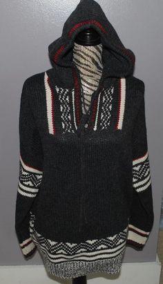Jones Wear Sport Knit Sweater XL Gray White Red Wool Blend Hood Nordic Wish List #JonesWearSport #Hooded