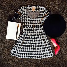 HP!  Black and White Fit and Flare Plaid Dress Super cute dress purchased from a boutique in Istanbul. Excellent pre-owned condition. The tag says M. I am a size 4 in dresses and this fits me well. There is room to stretch around the waist. Really flattering!  FAST SHIPPER ✨ bundled discounts in my closet✨ Dresses