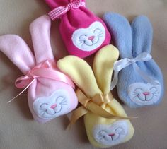 ITH Bunny Treat Bag I used fleece for mine ...they are so soft.... All made in the hoop.... Easter treats, mini chocolate eggs, lollies etc can go inside your bunny through the opening between the ears. Then secure closed with a bow. https://www.etsy.com/listing/178649786/ith-bunny-treat-bag-3-sizes-embroidery?ref=shop_home_active_16