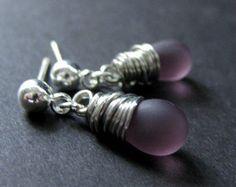 STERLING SILVER Earrings Black Earrings. Wire by TheTeardropShop