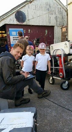Tom Hiddleston on the set of The Night Manager
