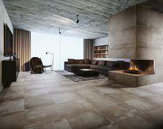 Ariostea High-Tech Crete keramische vloer- en wandtegel. Strak modern interieur.