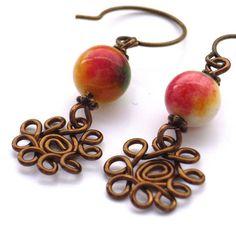 Gemstone wire work flower earrings