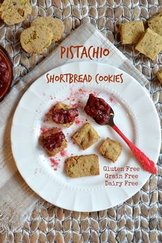 Pistachio Shortbread Cookies with Strawberry Preserves