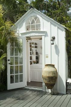 "A tiny shed turned guest bedroom from my Key West friend's house that appears in my book ""Key W&; A tiny shed turned guest bedroom from my Key West friend's house that appears in my book ""Key W&; Susa […] Homes Cottage sheds Sala Tropical, Tropical Interior, Outdoor Rooms, Outdoor Living, Outdoor Bedroom, Shed Design, Cozy Cottage, Guest House Cottage, Key West Cottage"