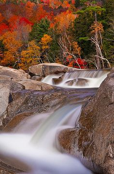 Lower Falls - Swift River, White Mountains, New Hampshire. I was swept away.(I know corny right) Beautiful Waterfalls, Beautiful Landscapes, New Hampshire, Beautiful World, Beautiful Places, Autumn Scenery, White Mountains, All Nature, Belleza Natural