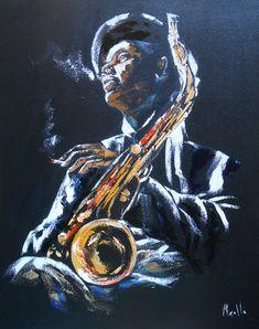 """Tableau """"Saxo Jazz"""" - Peintures-axelle-bosler : Peintures par peintures-axelle-bosler"""