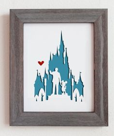 This is a cut out of Disney World, including Walt holding hands with Mickey, and the disney castle. Perfect for gift or for your home decoration!