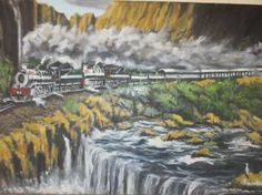 """Saatchi Art Artist FRANS BOTHA; Painting, """"19 DOLLY TWO ENGINS STEAM TRAIN FROM PRETORIA TO CAPETOWN TO ZAMBIE"""" #art"""
