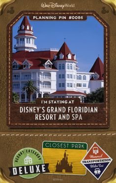 Walt Disney World Planning Pins: Just one stop to Magic Kingdom park on the complimentary Resort Monorail, this timeless Victorian-style marvel evokes Palm Beach's golden era.