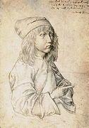 Dürer Self portrait at 13, 1484. Silver point drawing, Vienna