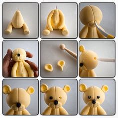 How to make a fondant teddy bearTutorial - how to make cute Teddy bear fondant cake topper for cakes, cupcakes, birthday party, christening, baptismTutorial de osito con pastas moldeables Delicious Cake for youFimo y fondantThis is made from sugar but I w Cute Polymer Clay, Polymer Clay Animals, Cute Clay, Polymer Clay Crafts, Fondant Teddy Bear, Teddy Bear Cakes, Fondant Cake Toppers, Fondant Figures, Fondant Cupcakes
