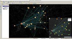 Mappa delle connessioni temporali del profilo Twitter su Milano. Concentrazione e link in base alla successione temporale. Mappa realizzata con QGis e esportata con QGIS2LEAF per la creazione della mappa web basata su LeafletJS