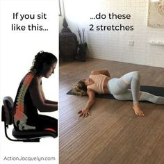 Because so many of us are really getting STUCK in bad postures and ending up in lots of PAIN!! Your muscles begin to adapt to the positions you mostly stay in, i.e. slouching! so take care of your body and MOVE throughout your day to reverse the negative effects of sitting and slouching. After work, or during your work day if you can, find a few moments to do these two stretches. You're worth taking 2 minutes of YOUR day to heal pain and improve your posture.