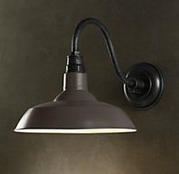 Vintage Barn Sconce Slate Grey; I like the gray on the shade here to tie back in to counters and trim