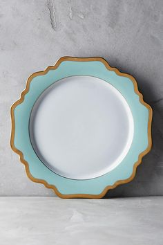 Slide View: 1: Anna's Palette Aqua Green Dinner Plate