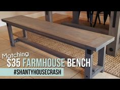 DIY Industrial Farmhouse Dining Bench - Dining Set - Ideas of Dining - Industrial Farmhouse Bench Shanty 2 Chic Farmhouse Dining Benches, Industrial Farmhouse, Industrial Interiors, Farmhouse Furniture, Diy Furniture, Diy Industrial Bench, Farmhouse Windows, Outdoor Dining, Industrial Bookshelf