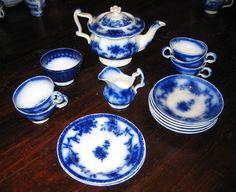Victorian Child's antique Minton Flow Blue toy tea set c1850 #Minton