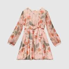 Strawberry-Print Silk Chiffon Dress, Pink, Size by Gucci at Neiman Marcus. Pink A Line Dress, Pink Chiffon Dress, Silk Chiffon, Pink Dress, Dresses Kids Girl, Little Girl Outfits, Kids Outfits, Baby Dresses, Long Sleeve Silk Dress
