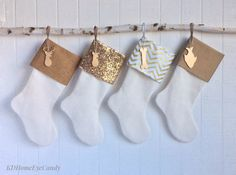 Set of 4 Christmas Stockings Gold Christmas by KDHomeEyeCandy