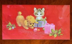Vintage UNUSED Christmas Card GLITTER CAT KITTEN DOG PUPPY w/ PINK PURPLE GIFTS