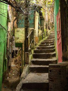 Rio Favela Staircase - x Favelas Brazil, Dystopian Art, Brazil Culture, Comic Layout, City Aesthetic, Environment Concept, Slums, Urban Landscape, Street Photography