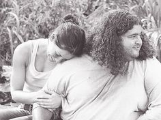 Evangeline Lilly and Jorge Garcia (behind-the-scenes on LOST)